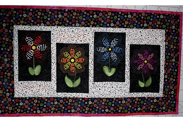 Quilt with embroidery for Diana Liles b